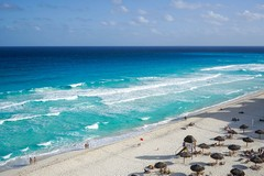 Cancun, Mexico, Beach, Huts, Waves, Tropical, Travel